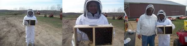 Johanna and Jack with new bees ready to go to hives that are waiting in the orchard.
